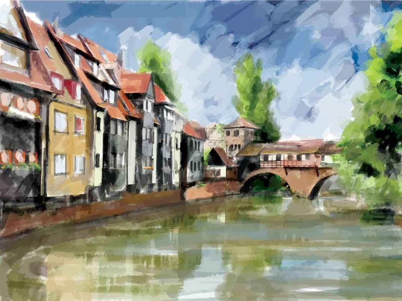 Illustration einer europäischen Stadt, Häuser am Fluß