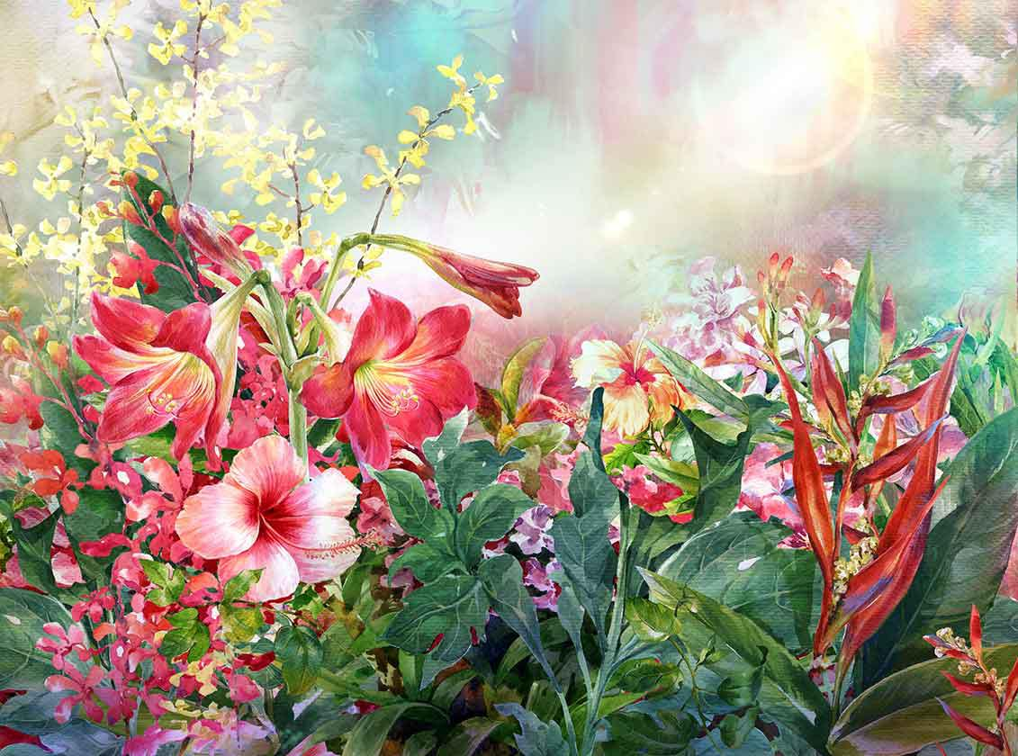 Mehrfarbige Frühlingsblumen