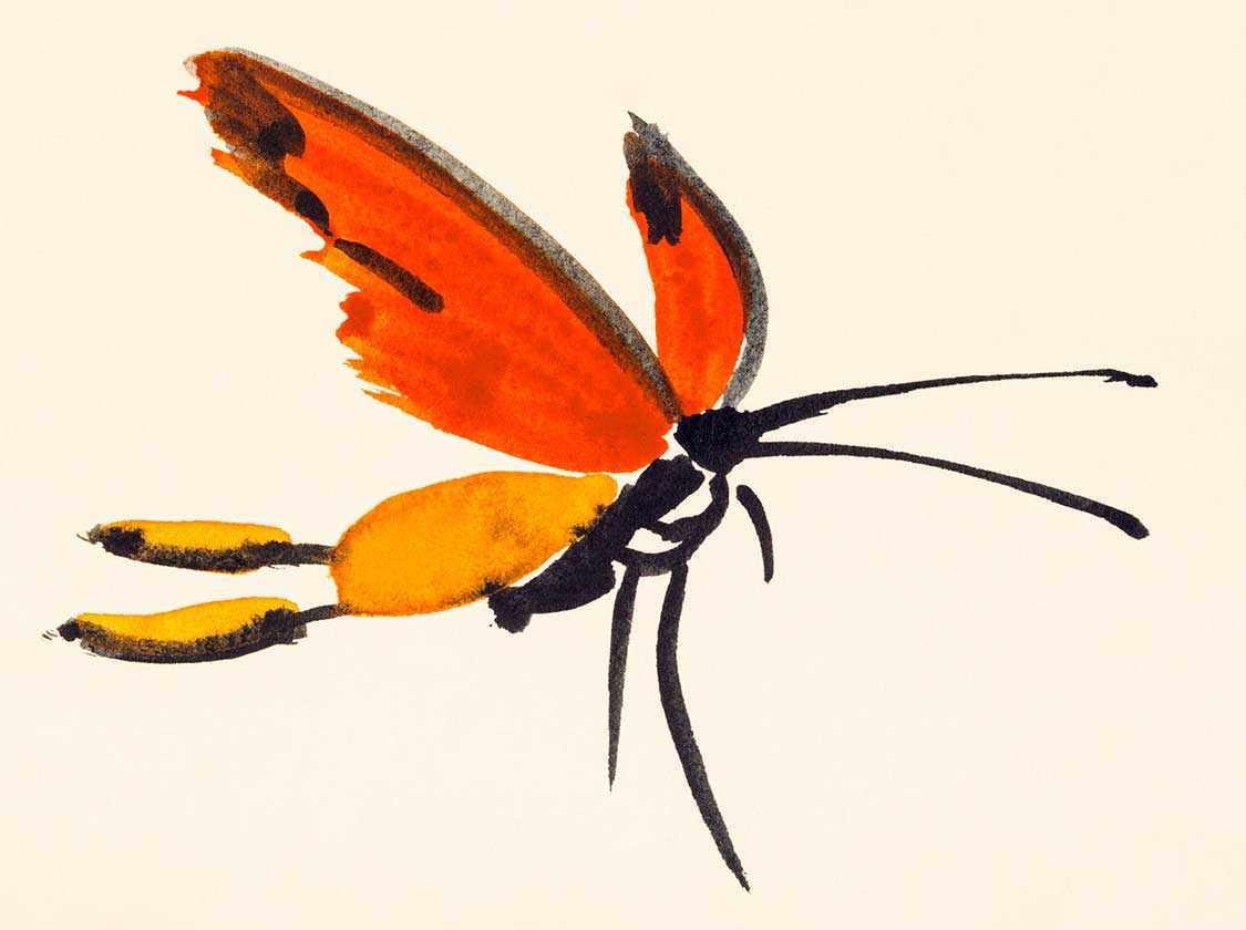 Schmetterling mit roten Flügeln handgemalt auf cremefarbenem Papier