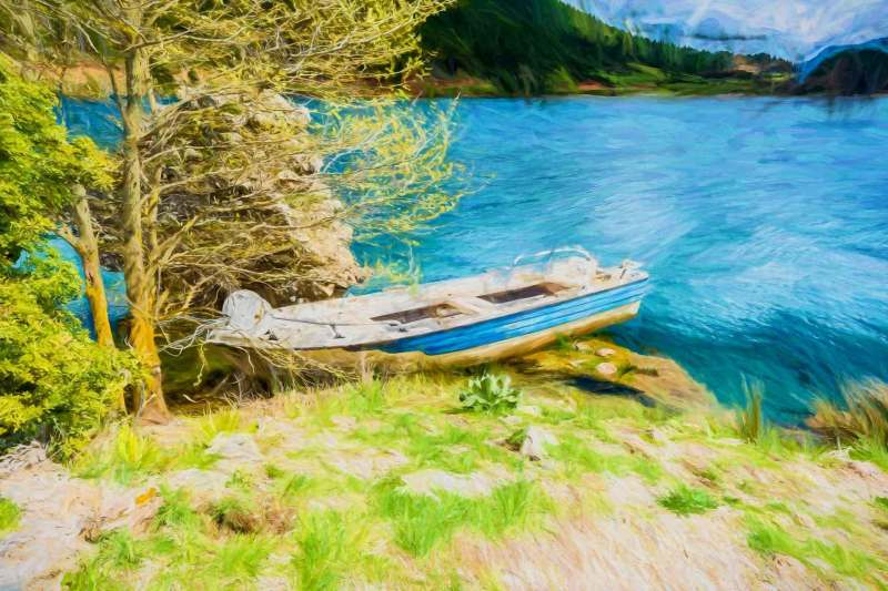 Fish Boat at Blue Lake in the mountains - Painting effect