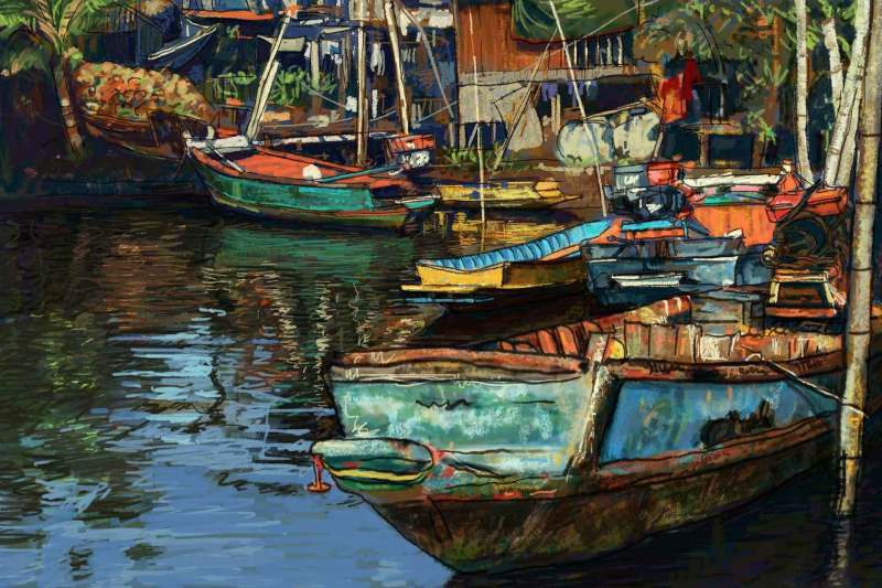 Digital painting of fishing boat on canal in Thailand