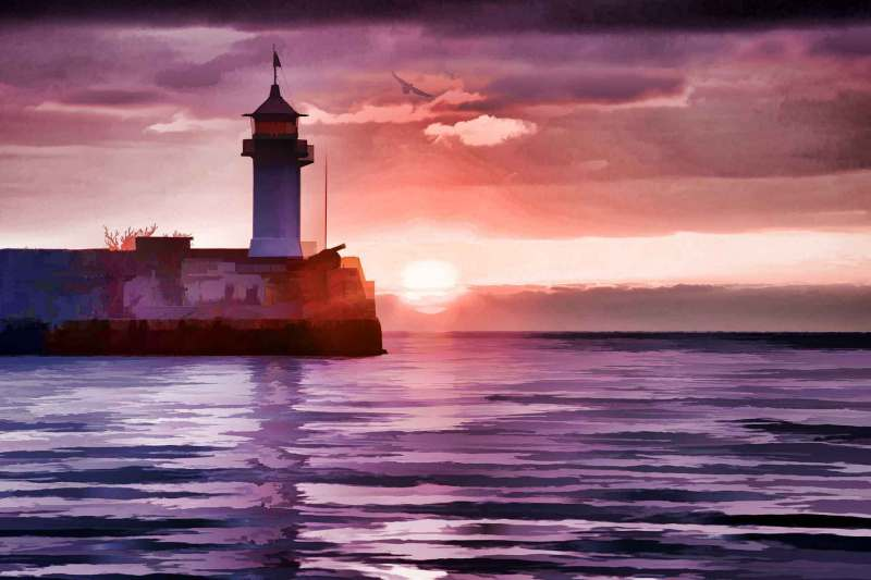 Watercolor style image of lighthouse