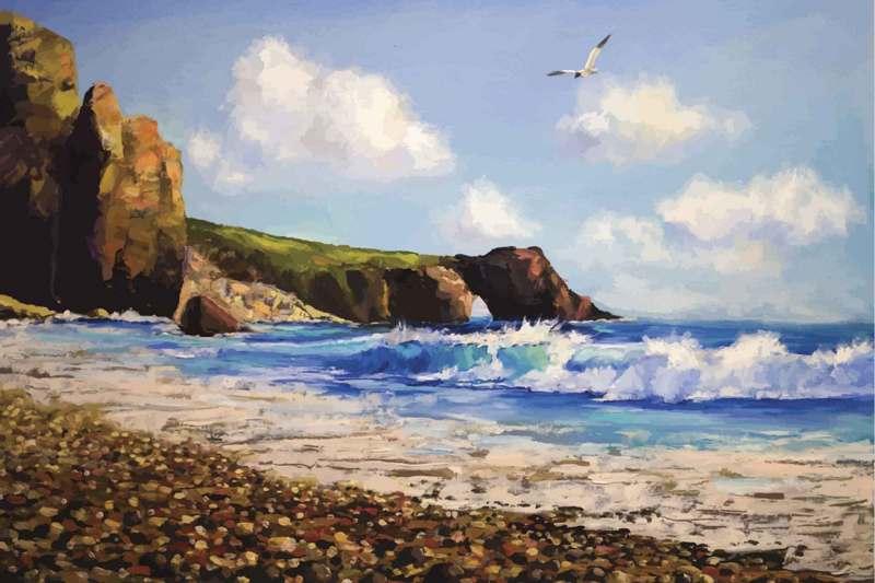 Sea landscape with seagull