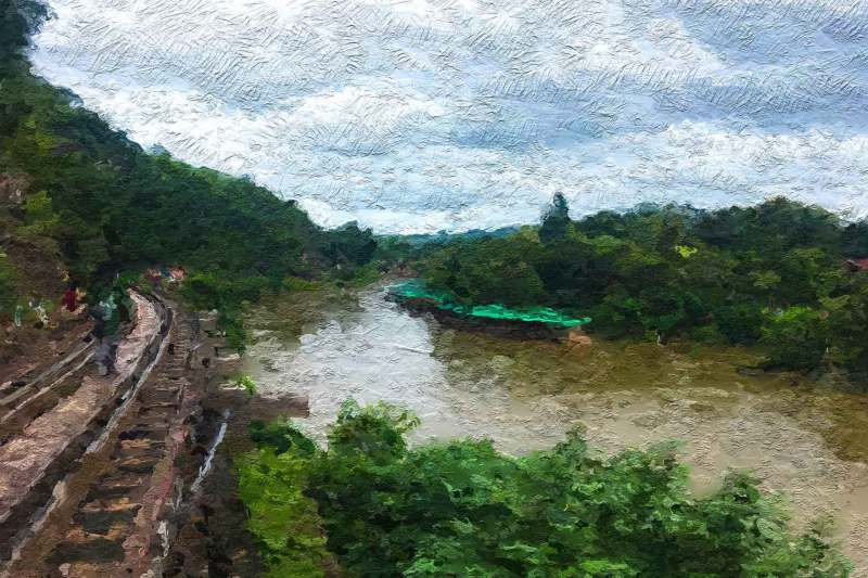Nature Lake forest, Oil painting image