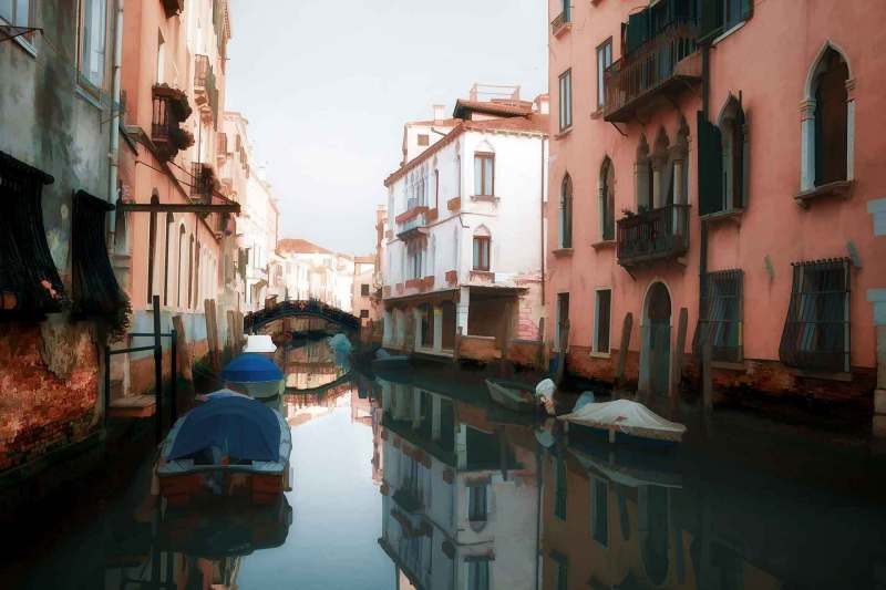Oil painting style picture of small canal in Venice
